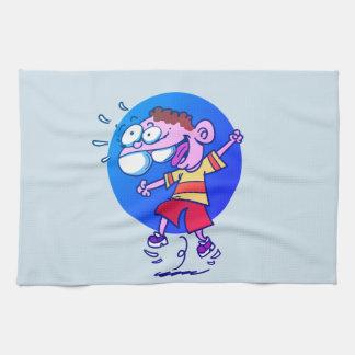 happy kid jumping to air funny cartoon tea towel
