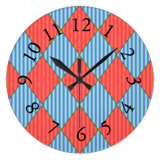 Happy-Kids-Quilt-Harlequin_Blue & Orange-Stripes Large Clock