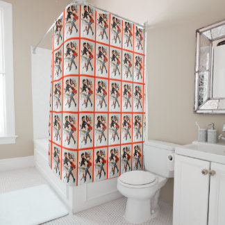 Happy Krampus with Temptress Vintage Christmas Shower Curtain