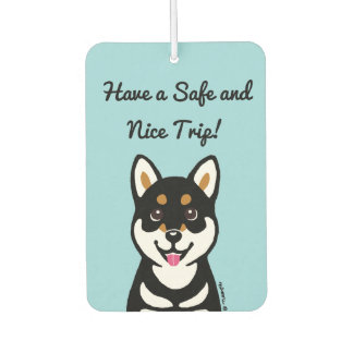 Happy Kuro Shiba Inu Cartoon Air Freshener