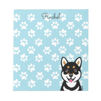 Happy Kuro Shiba Inu Cartoon notepad