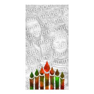 Happy Kwanzaa Bokeh Kinara Personalized Photo Card