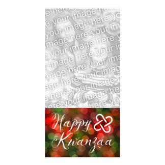 Happy Kwanzaa Bokeh Umoja Lights Personalised Photo Card