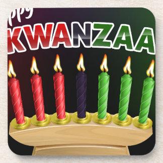Happy Kwanzaa Candles Design Coaster
