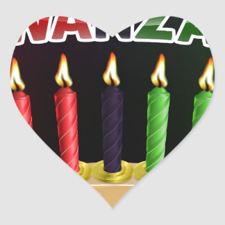Happy Kwanzaa Candles Design Heart Sticker