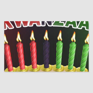 Happy Kwanzaa Candles Design Rectangular Sticker