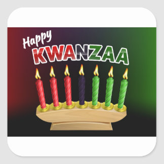 Happy Kwanzaa Candles Design Square Sticker