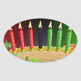 Happy Kwanzaa First Harvest Design Oval Sticker