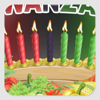 Happy Kwanzaa First Harvest Design Square Sticker