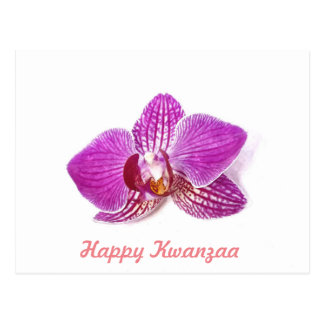 Happy Kwanzaa Lilac Orchid floral watercolor art Postcard