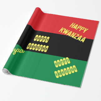 Happy Kwanzaa RBG UNIA Afro-American Flag Wrapping Paper