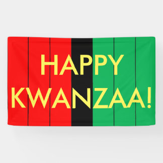 Happy Kwanzaa Red Black Green Stripes Pattern Banner