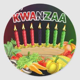 Happy Kwanzaa Sign Classic Round Sticker