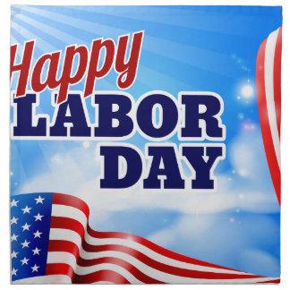 Happy Labor Day American Flag Banner Napkin