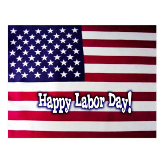 Happy Labor Day American Flag Postcard