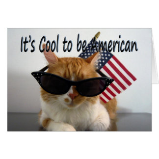 Happy Labor Day Cool Cat with Flag Greeting Card