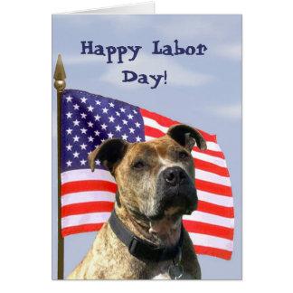 Happy Labor Day Pitbull Greeting card