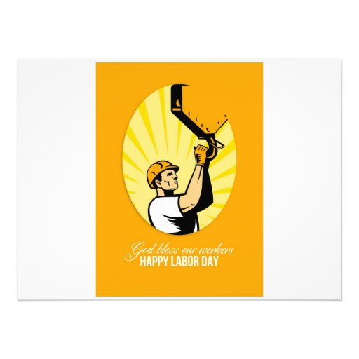 Happy Labor Day Retro Poster Greeting Card Personalized Invite