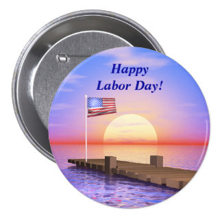 Happy Labor Day US Flag and Dock Pin