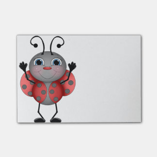 Happy Ladybug red black Post-it Notes