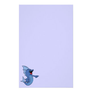 HAPPY LAUGHING BLUE CARTOON FISH GRAPHIC HUMOR LIG STATIONERY PAPER
