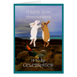Happy Leap Year Anniversary, Two Bunnies jumping Card
