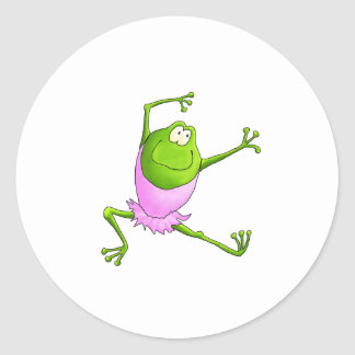 Happy Leaping Ballet Frog Classic Round Sticker