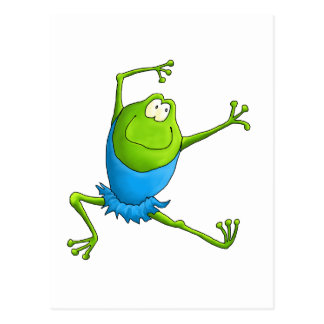 Happy Leaping Ballet Frog Postcard