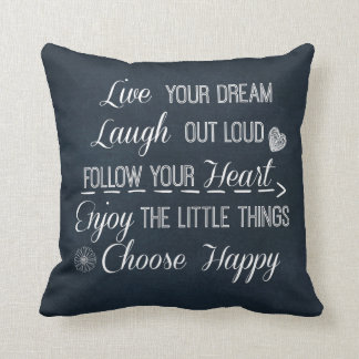 Happy Life Rules Quotes Affirmations Cushion