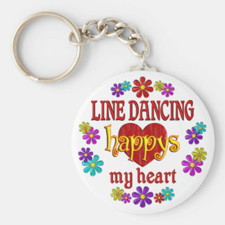 Happy Line Dancing Basic Round Button Key Ring