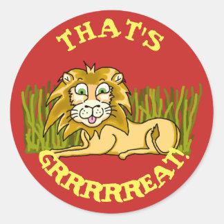 Happy Lion Classic Round Sticker