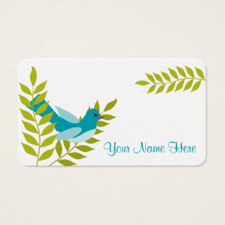 Happy Little Blue Bird & Green Leaves Calling Card