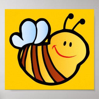 HAPPY LITTLE BUMBLEBEE BEE CARTOON CUTE HONEY INSE POSTER