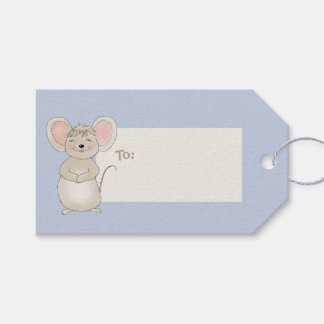 Happy Little Mouse on Blue Gift Tags