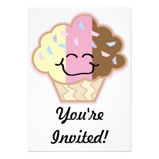 happy little neopolitan cupcake personalized invites