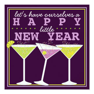 Happy Little New Years Eve Cocktail Party Card