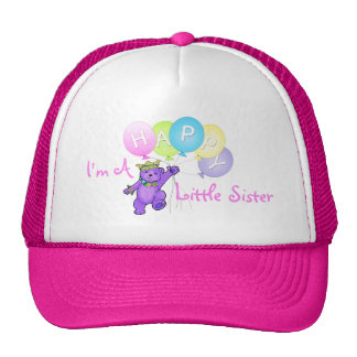 Happy Little Sister Purple Teddy Bear Cap