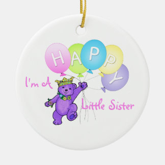 Happy Little Sister Teddy Bear Round Ceramic Decoration