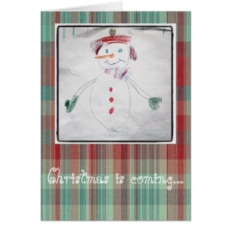 Happy Little Snowman And Christmas Plaid Card