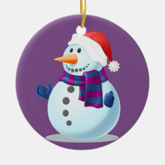 Happy Little Snowman on Purple Background Ceramic Ornament