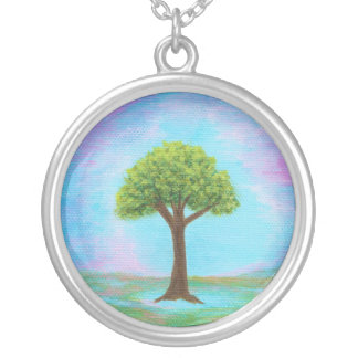 Happy Little Tree Round Pendant Necklace Painting