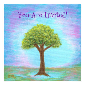 Happy Little Tree Whimsical Landscape Art Blue 13 Cm X 13 Cm Square Invitation Card