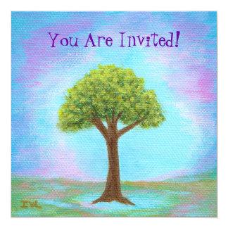 Happy Little Tree Whimsical Landscape Art Blue Card