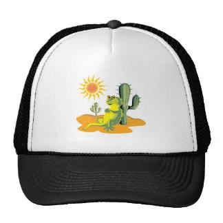 happy lizard in desert cap