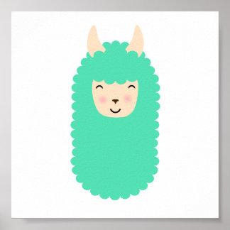 Happy Llama Emoji Poster