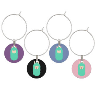 Happy Llama Emoji Wine Charm Set
