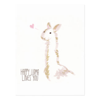 Happy Llama Loves You Postcard