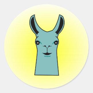 Happy Llama Teal Drawing Classic Round Sticker