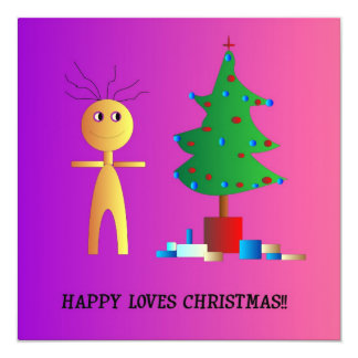 """Happy Loves Xmas"">Cute Childrens Xmas card 13 Cm X 13 Cm Square Invitation Card"
