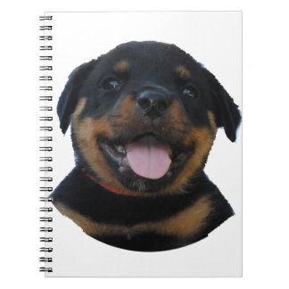 Happy Male Rottweiler Puppy Notebook